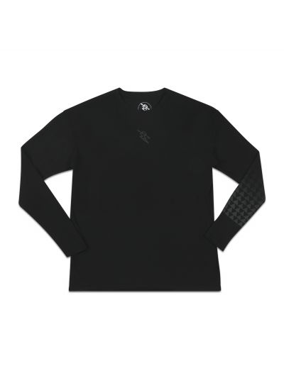 Mano Long Sleeve Black Crew Neck Tee w/ Grey Gradient Print - PREORDER