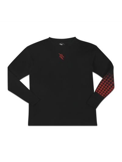 Mano Long Sleeve Black Crew Neck Tee w/ Red Gradient Print - PREORDER