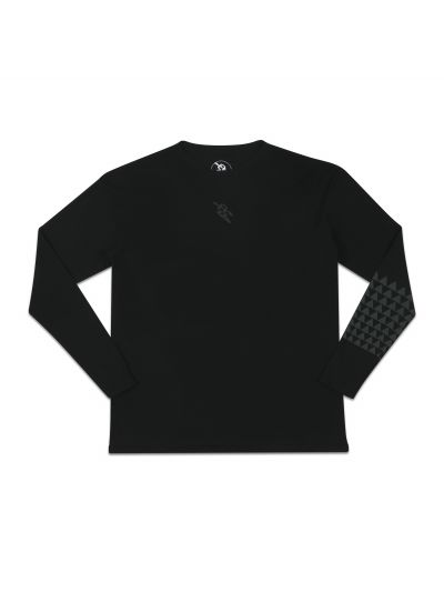 Mano Long Sleeve Black Crew Neck Tee w/ Light Grey Print - PREORDER