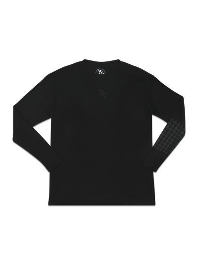 Mano Long Sleeve Black Crew Neck Tee w/ Dark Grey Tonal Print - PREORDER