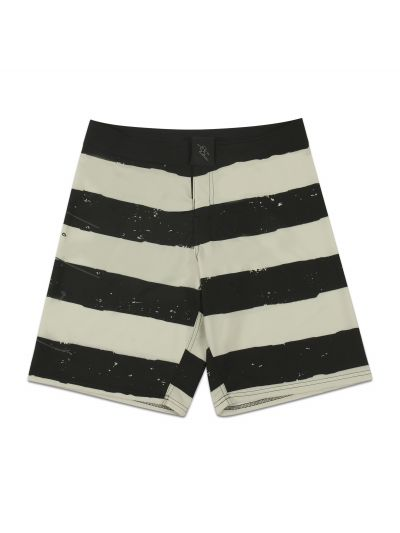 Jailbird Cream and Black Stripe Boardshort - PREORDER