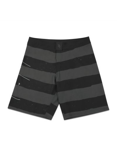 Jailbird Grey and Black Stripe Boardshort - PREORDER